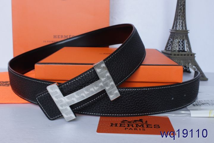 Mens with Silver H Buckle Hermes Belt Black For sale